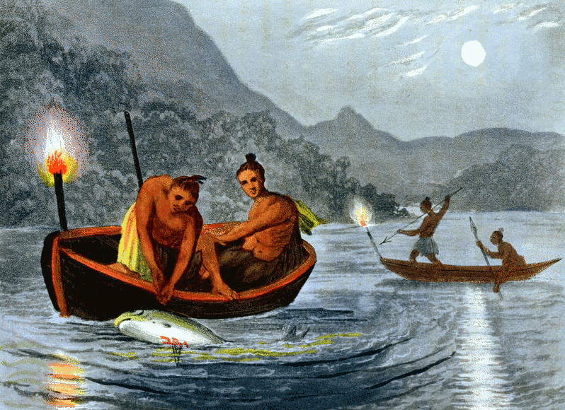torchlight fishing native americans   american history fisherman clipart free fisherman clipart free
