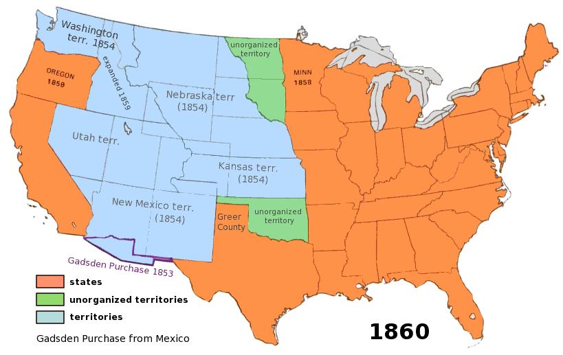 Us territory 1860 americanhistorymapsusterritory1860gml publicscrutiny Image collections