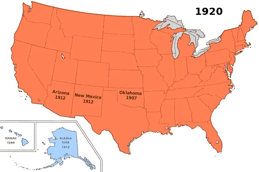 Us Territory AmericanHistorymapsusterritorypnghtml - Map of us 1920