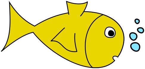 Bubbles fish. W yellow animals aquatic