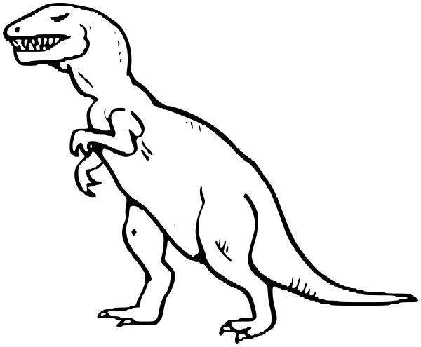 Coloring Pages Extinct Animals : Tyrannosaur bw animals extinct dinosaur t rex
