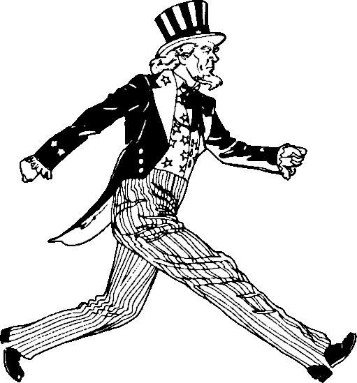 Uncle Sam walking - /cartoon/Black_n_White/Uncle_Sam ... | 511 x 549 png 73kB