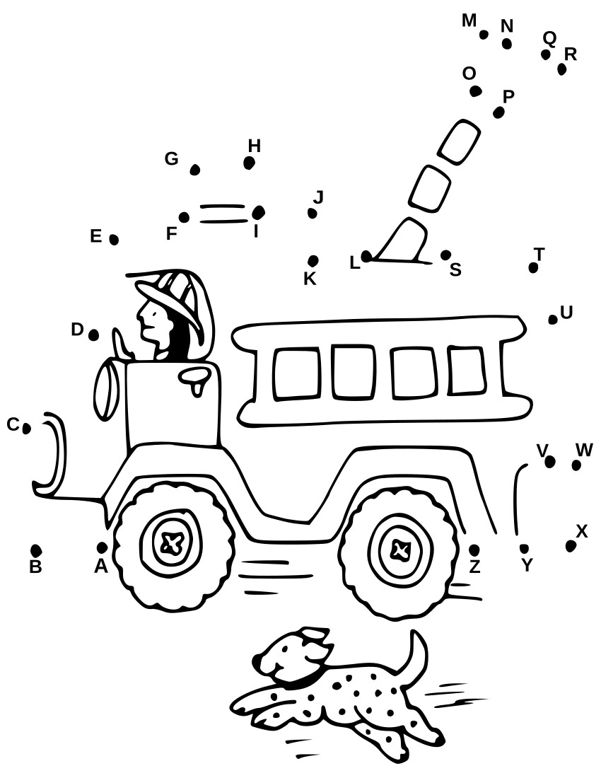 connect dots alphabet firetruck education coloring pages connect the dots connect dots. Black Bedroom Furniture Sets. Home Design Ideas