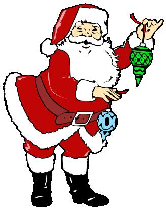 Santa holding decorations holiday christmas santa santa for X mas decorations png
