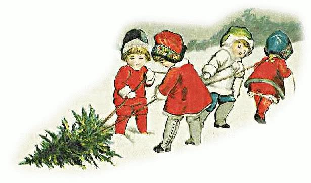 kids dragging tree - /holiday/Christmas/trees/kids ...