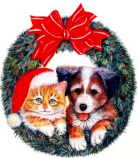 Public Domain Dog Cat Christmas Xmas