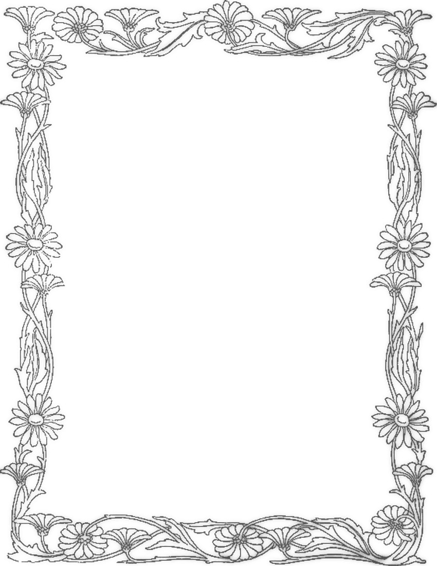 Daisy border page frames floral daisy for Cadre floral mural