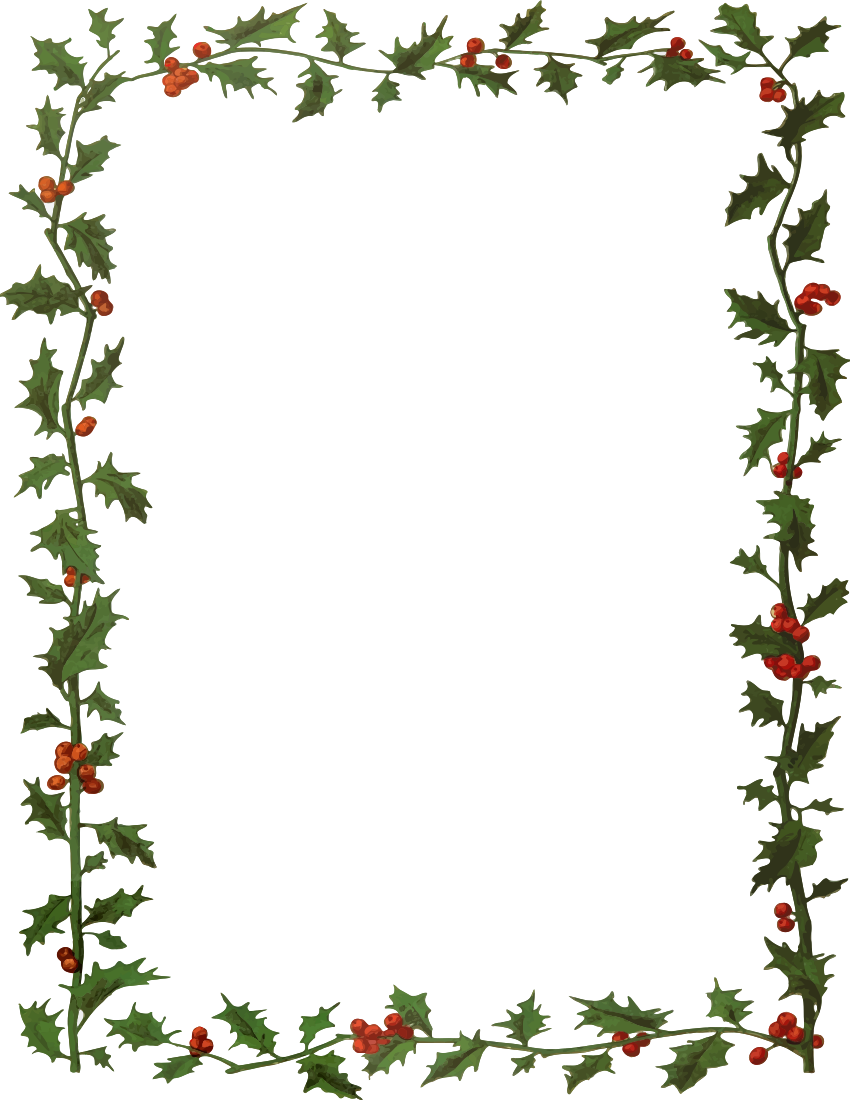 holly frame 2   page frames  floral  leaves  holly frame 2 png html Printable Christmas Borders free christmas borders clip art microsoft word