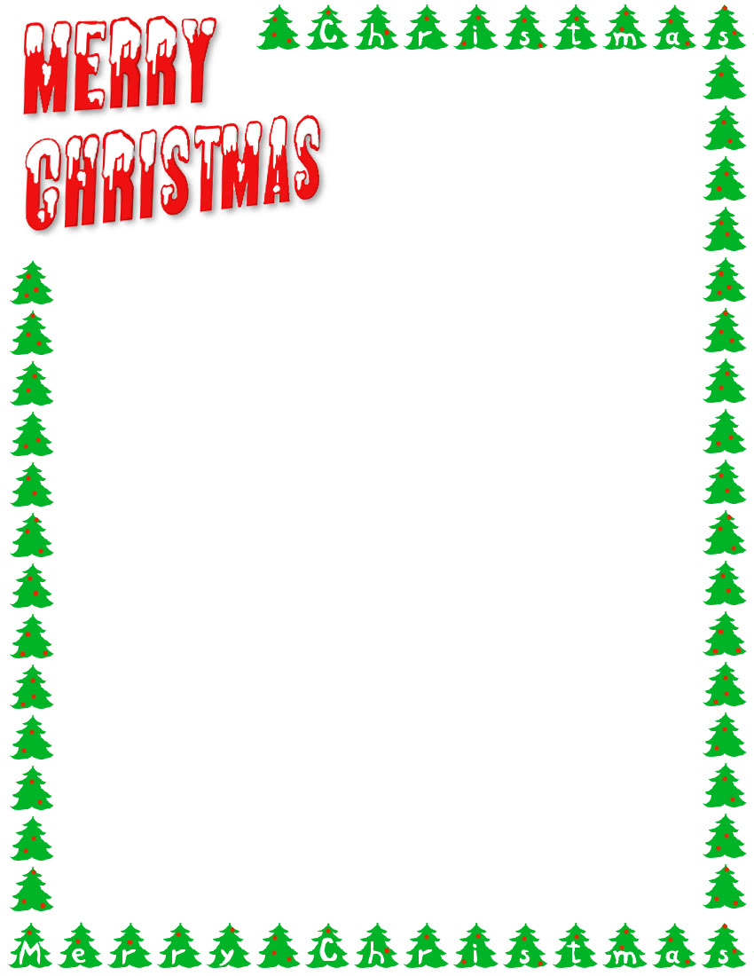 Merry Christmas Letters And Trees Page Frames Holiday