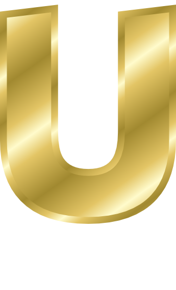 Gold Letter Capitol U Signs Symbol Alphabets Numbers