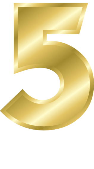 Gold Number 5 Signs Symbol Alphabets Numbers Gold Gold