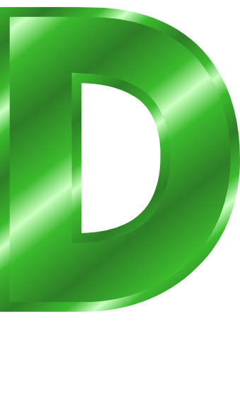 green metal letter capitol D - /signs_symbol/alphabets ...