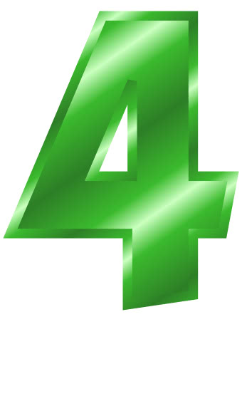Green Metal Number 4 Signs Symbol Alphabets Numbers