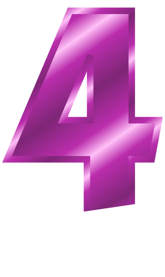 Purple Metal Number 4  Signs Symbol  Alphabets Numbers