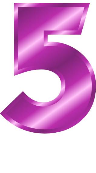 purple metal number 5  signs symbol  alphabets numbers