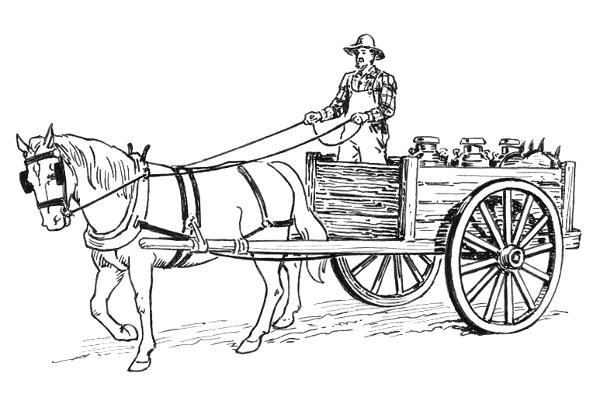 Kleurplaat Paard En Koets Horse Drawn Cart Transportation Animal Power Horse