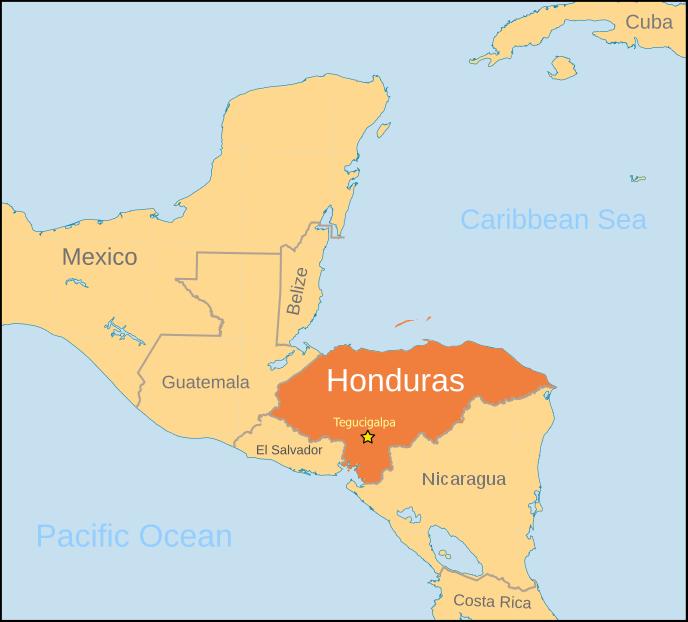 Honduras location labeled geographyCountryMapsHHonduras