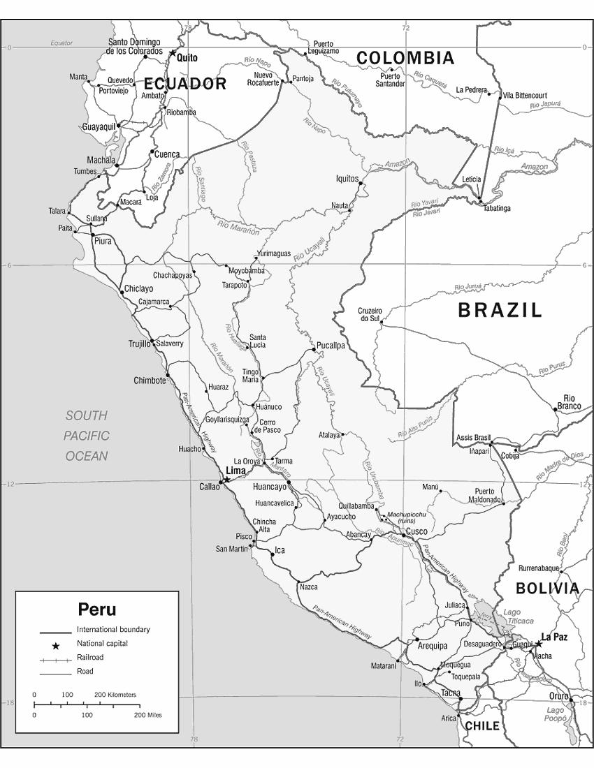 image regarding Printable Map of Peru titled Peru map 2006 print - /geography/Nation_Maps/P/Peru