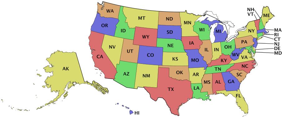 USA States Initials GeographyCountryMapsUUnitedStates - Us map initials