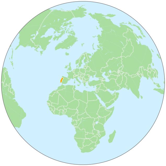 Portugal On Globe GeographyCountryMapsgloballocationEurope - Portugal globe map