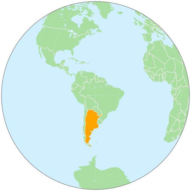 Argentina On Globe GeographyCountryMapsgloballocation - Argentina globe map
