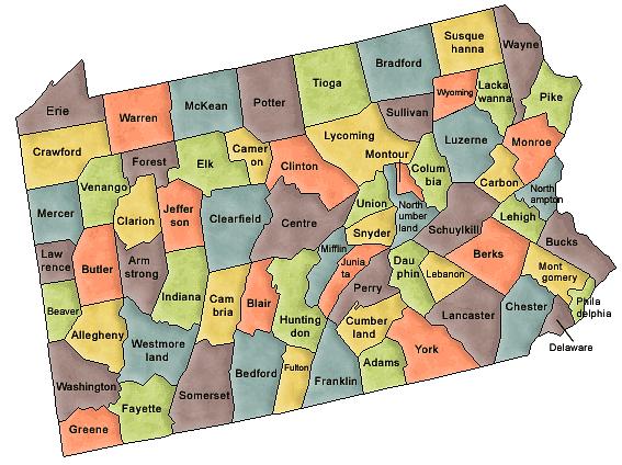 Pennsylvania - /geography/US_counties/Pennsylvania.png.html on geography of pennsylvania, geographical map washington pa, landforms of colonial pa, geography map of washington, physical geography of pa, geography map of canada, town maps of northeast pa, geography map usa,