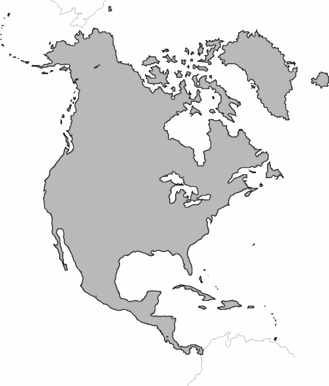 north america large bw geography continents north america