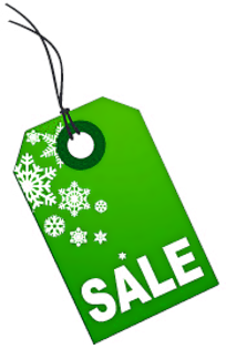 Holiday Sale Tag Snowflakes Green
