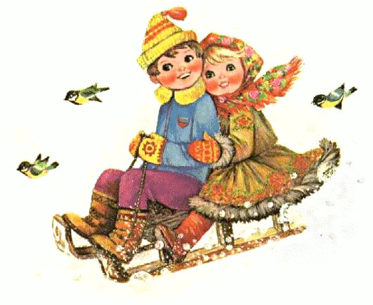 boy n girl sleighing - /holiday/Christmas/scenes/boy_n ...