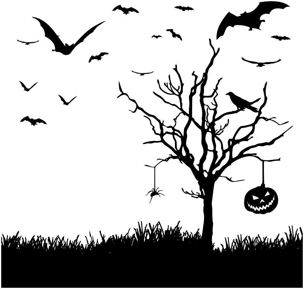 Halloween Scene Silhouette - /holiday/halloween