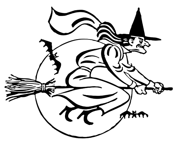 witch flying mean grin bw holidayhalloweenwitch witches_4witch_flying_mean_grin_bwpnghtml - Flying Halloween Witch