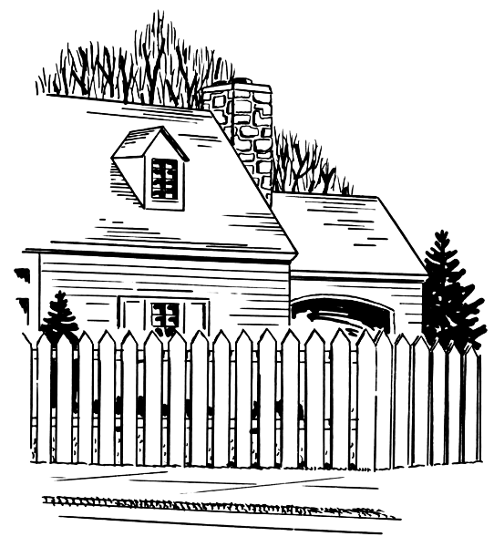 House With Picket Fence Household Outdoor House With