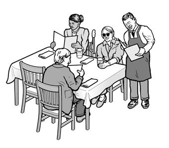 Waiter Reading Menu Blind Customer Medical