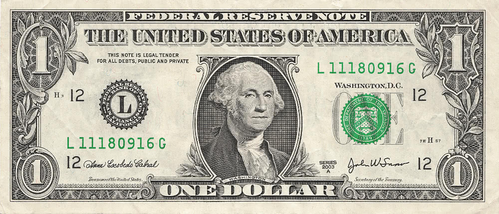 one dollar bill US - /money/US_Currency/US_currency_large ...
