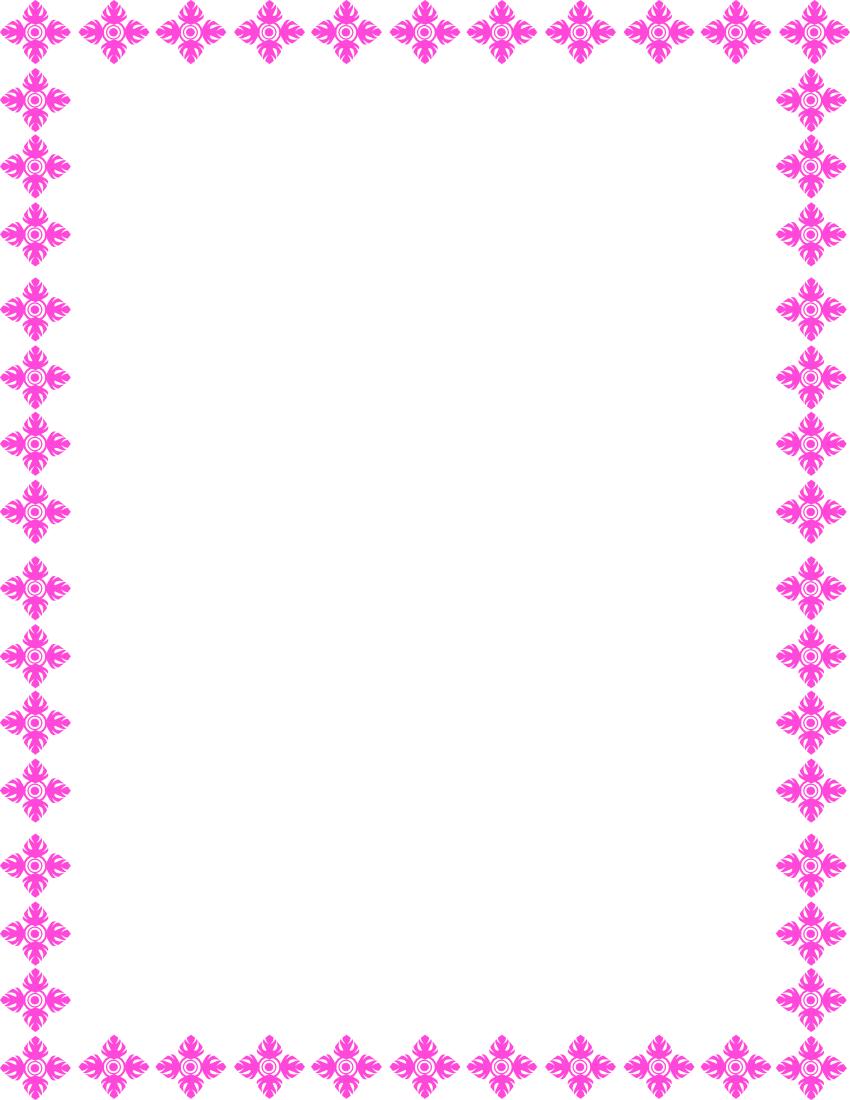 Floral Art Border Pink Page Frames Floral Floral Art