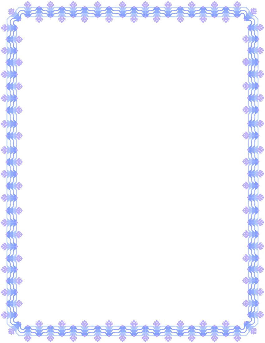 Purple Blue Floral Deco Border Page Frames Floral