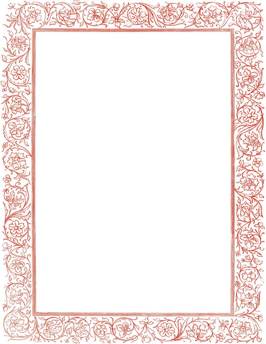 Victorian Floral Border Red Page Frames Old Ornate