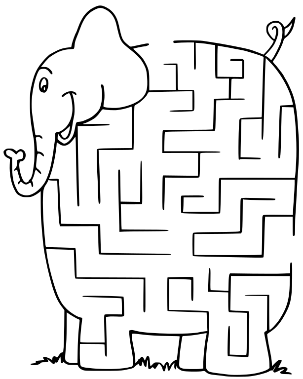Maze_elephant.png on Kindergarten Worksheets