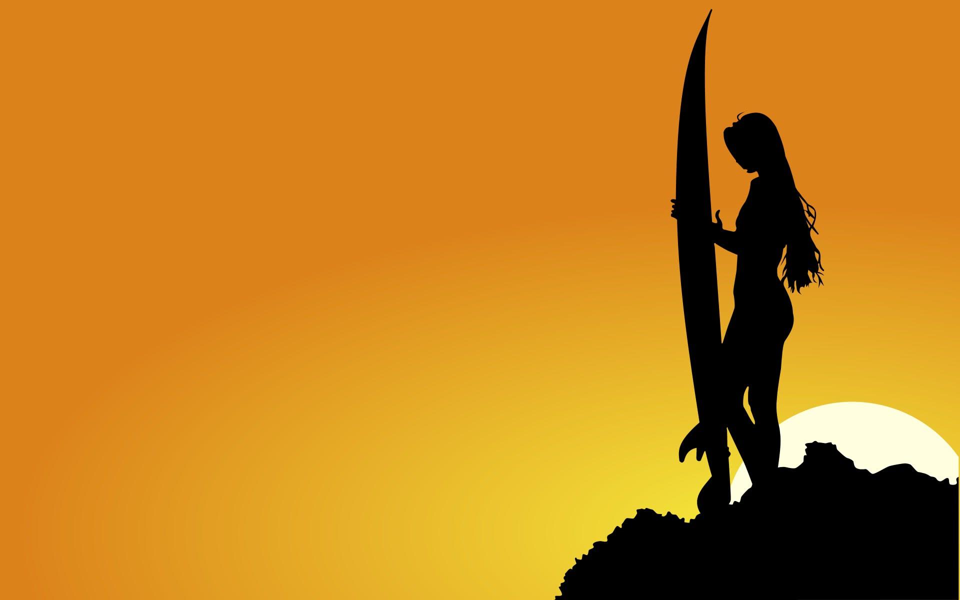 surfer girl sunset wide   scenic  wallpaper  people  surfer Surfer Girl Silouette Surfer Silhouette Girl Clip Art