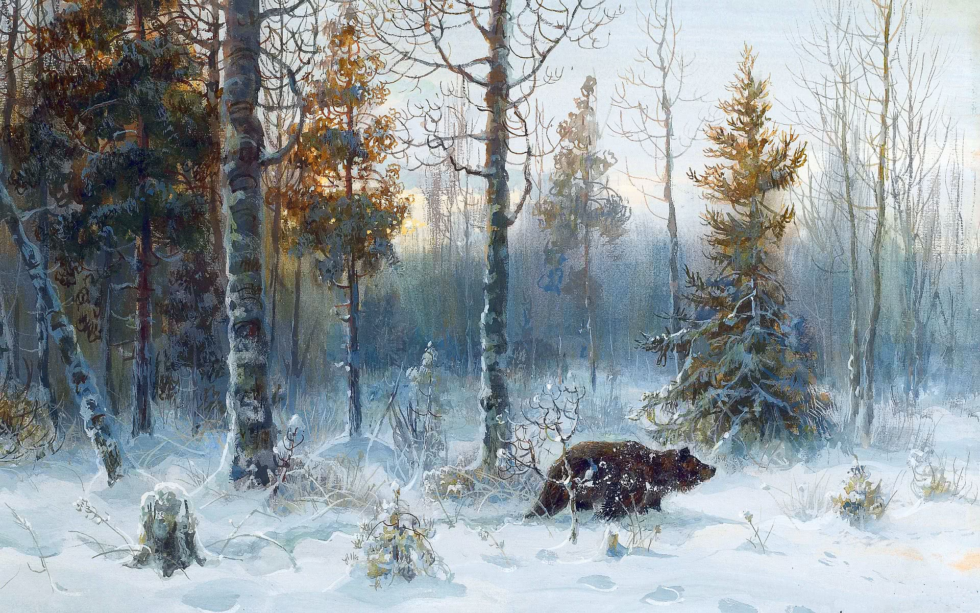 winter landscape bear scenic wallpaper winter winter. Black Bedroom Furniture Sets. Home Design Ideas