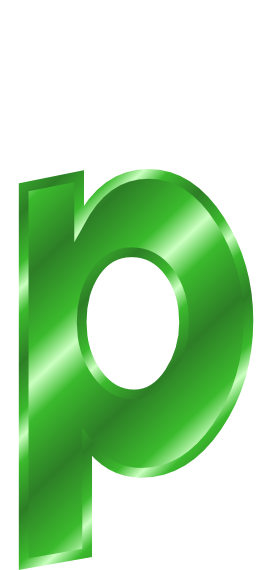 Green Metal Letter P