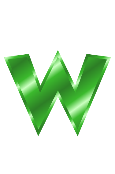 green metal letter w - /signs_symbol/alphabets_numbers ...
