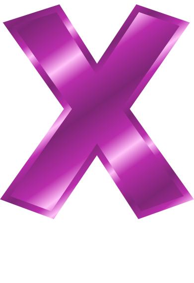 Purple Metal Letter Capitol X Signs Symbol Alphabets