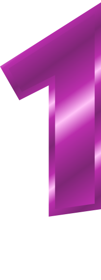 Purple Metal Number 1 Signs Symbol Alphabets Numbers