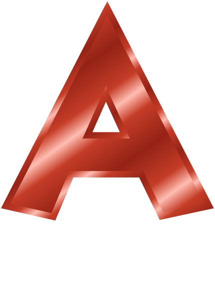 Red Metal Letter Capitol A Signs Symbol Alphabets