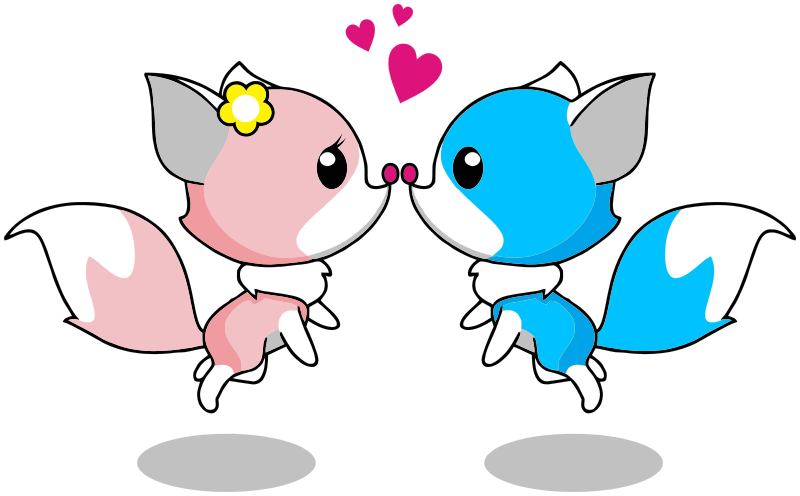 Foxes Romantic Couple - /signs_symbol/love/animals/Foxes ...