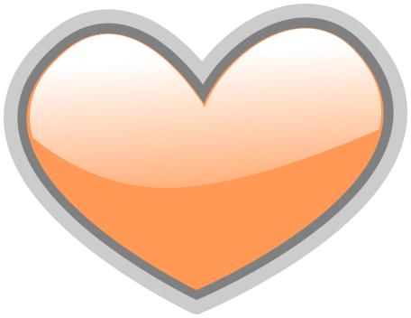 Gloss Heart Light Orange Signssymbolloveglossyheart