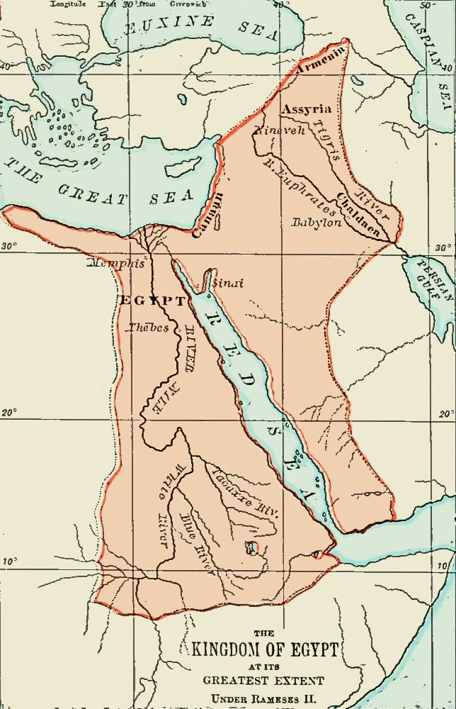 Kingdom Of Egypt Under Ramses II Worldhistorymaps - Map of egypt during ramses